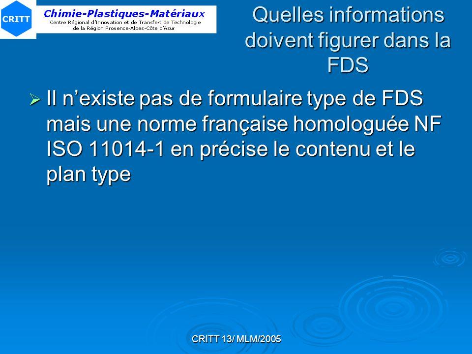Quelles informations doivent figurer dans la FDS
