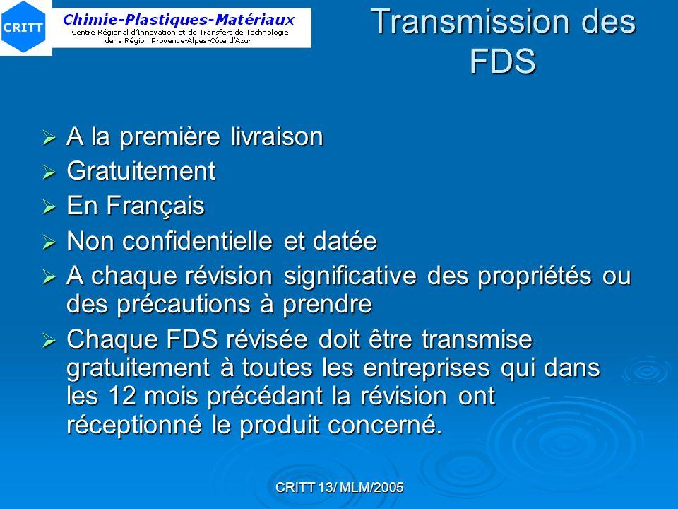 Transmission des FDS A la première livraison Gratuitement En Français