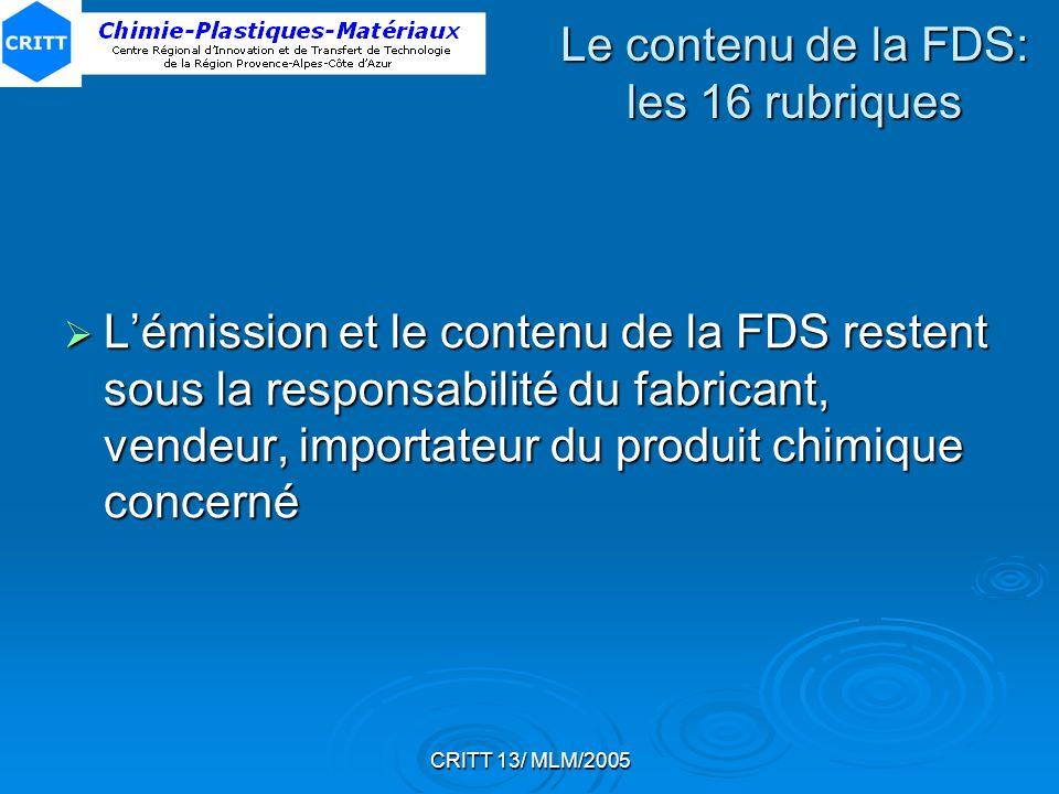 Le contenu de la FDS: les 16 rubriques