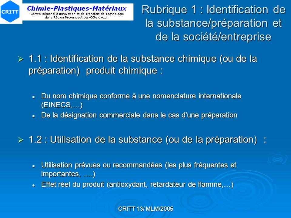 Rubrique 1 : Identification de la substance/préparation et de la société/entreprise
