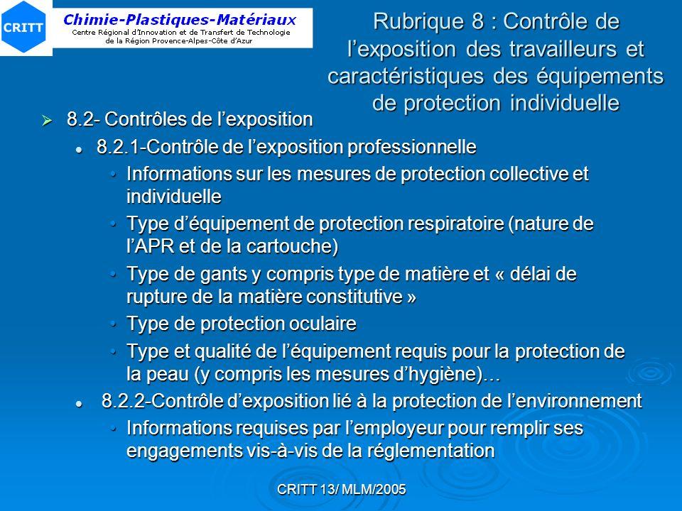 Rubrique 8 : Contrôle de l'exposition des travailleurs et caractéristiques des équipements de protection individuelle