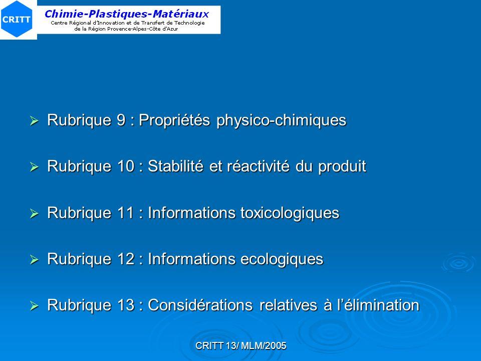 Rubrique 9 : Propriétés physico-chimiques