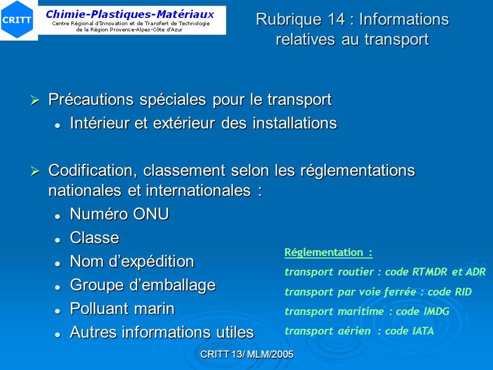 Rubrique 14 : Informations relatives au transport