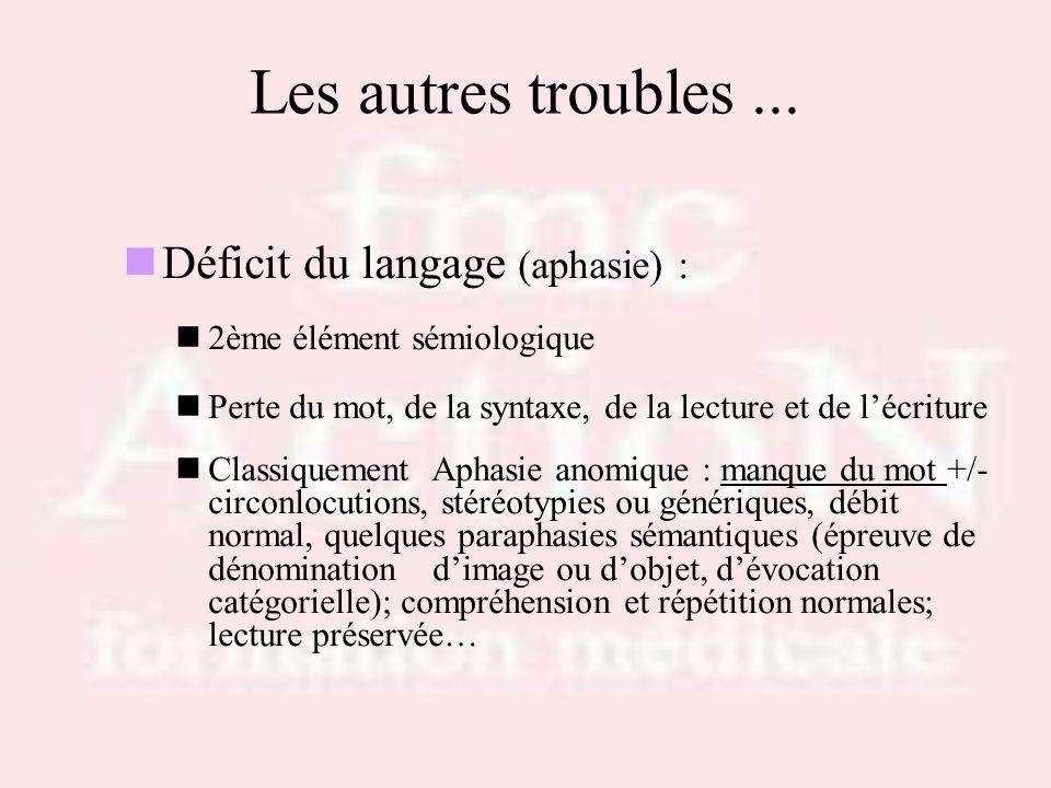Les autres troubles ... Déficit du langage (aphasie) :