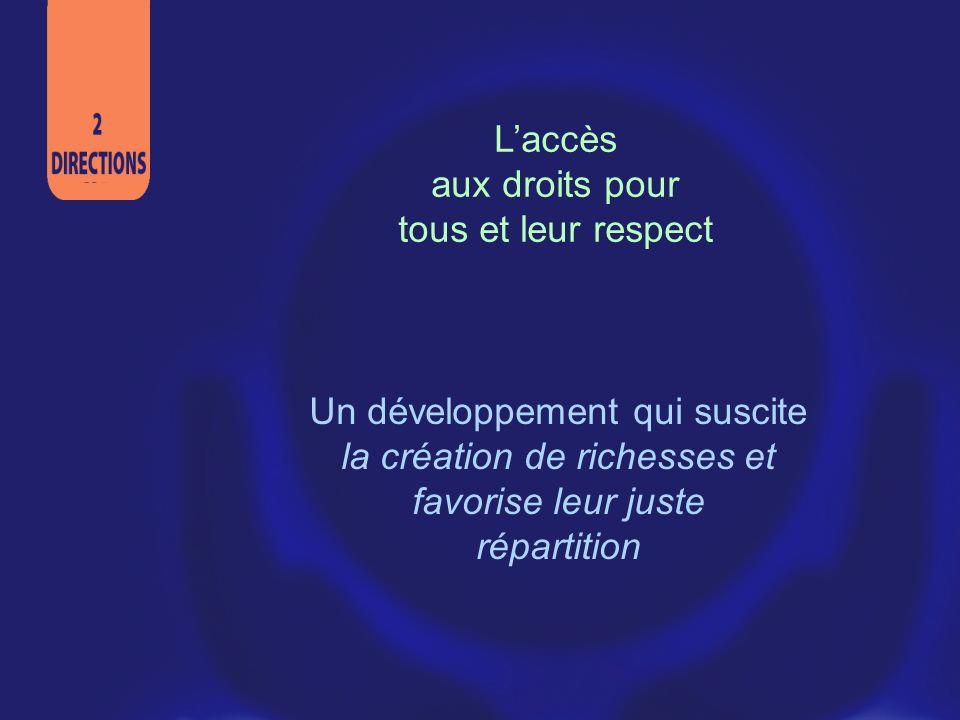 L'accès aux droits pour. tous et leur respect. Un développement qui suscite la création de richesses et favorise leur juste.