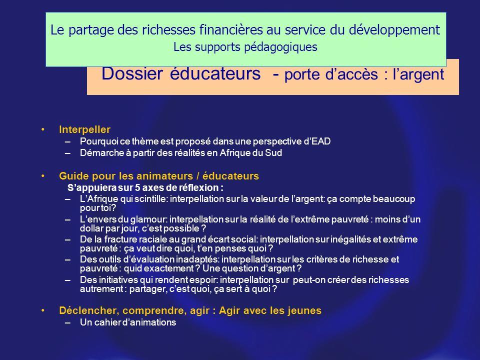 Dossier éducateurs - porte d'accès : l'argent
