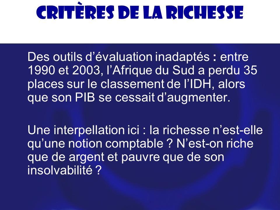 Critères de la richesse