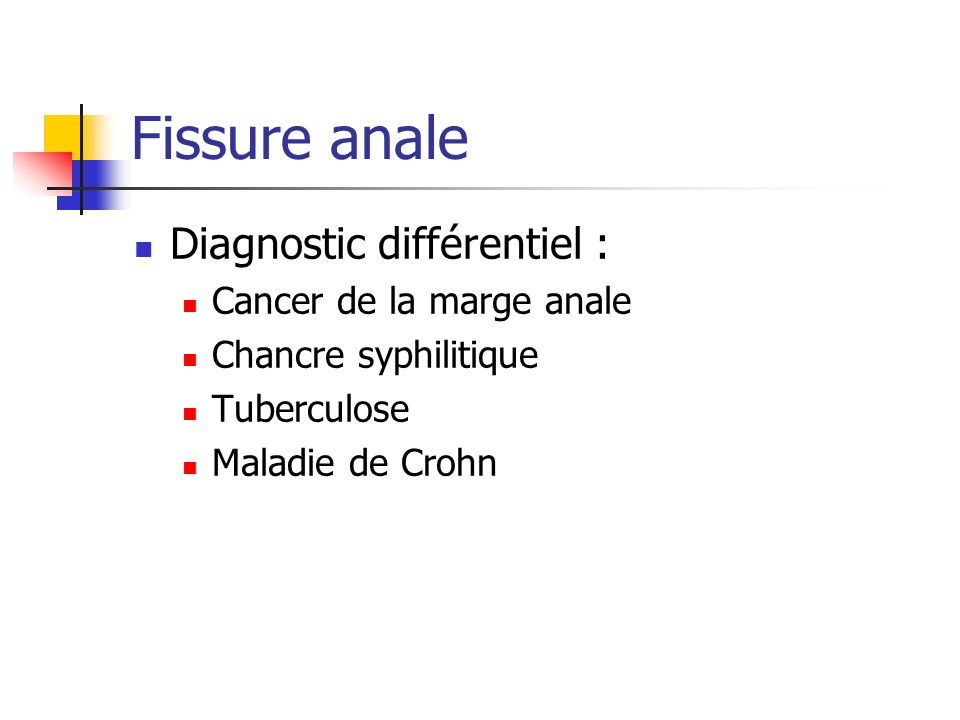 Fissure anale Diagnostic différentiel : Cancer de la marge anale