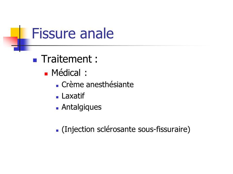 Fissure anale Traitement : Médical : Crème anesthésiante Laxatif
