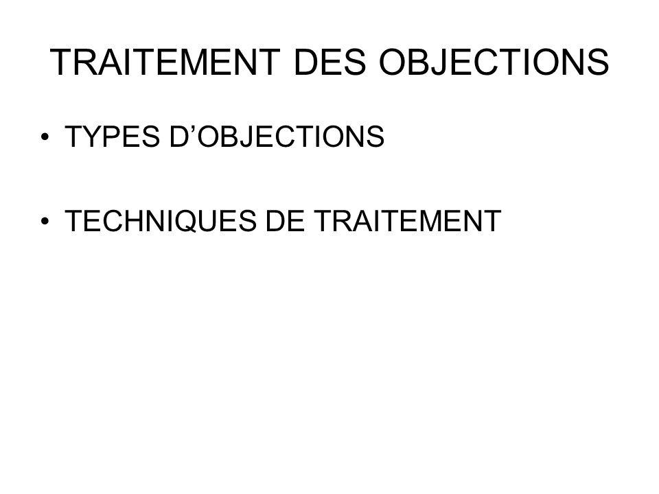 TRAITEMENT DES OBJECTIONS