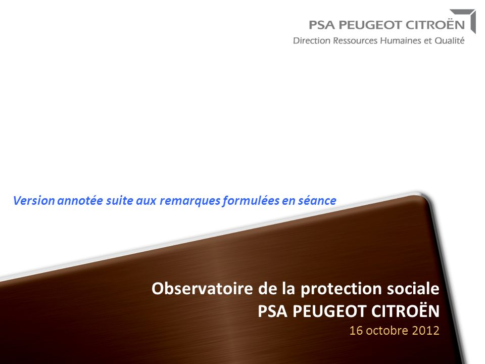 Novembre 2009 Version annotée suite aux remarques formulées en séance. Observatoire de la protection sociale PSA PEUGEOT CITROËN 16 octobre 2012.