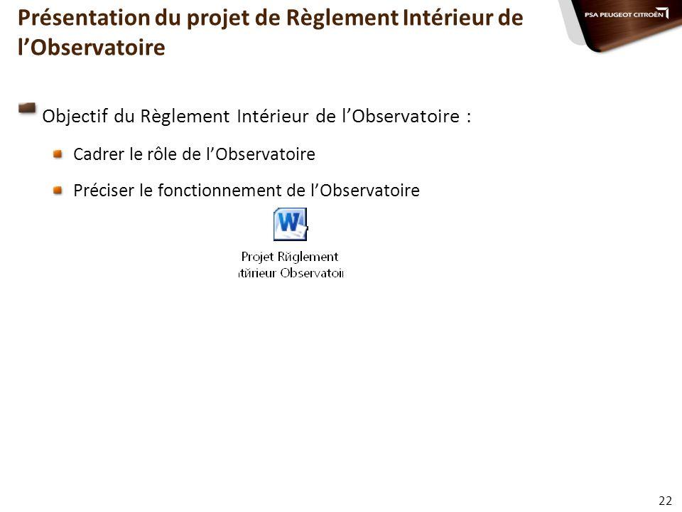 Présentation du projet de Règlement Intérieur de l'Observatoire