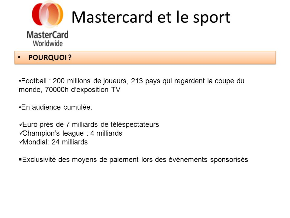 Mastercard et le sport POURQUOI
