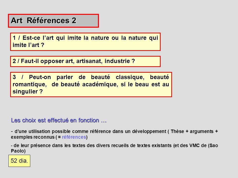Art Références 2 1 / Est-ce l'art qui imite la nature ou la nature qui imite l'art 2 / Faut-il opposer art, artisanat, industrie