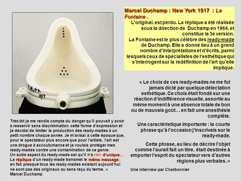 Marcel Duchamp : New York 1917 : La Fontaine .