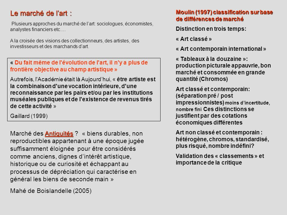 Le marché de l'art :Moulin (1997) classification sur base de différences de marché. Distinction en trois temps: