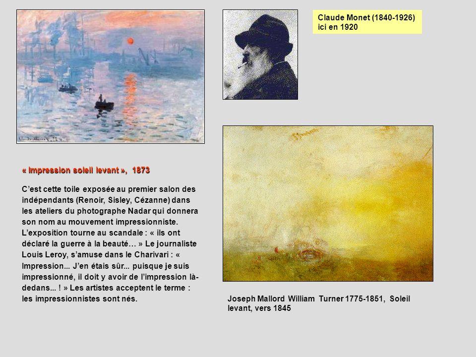 Claude Monet (1840-1926) ici en 1920. « Impression soleil levant », 1873.