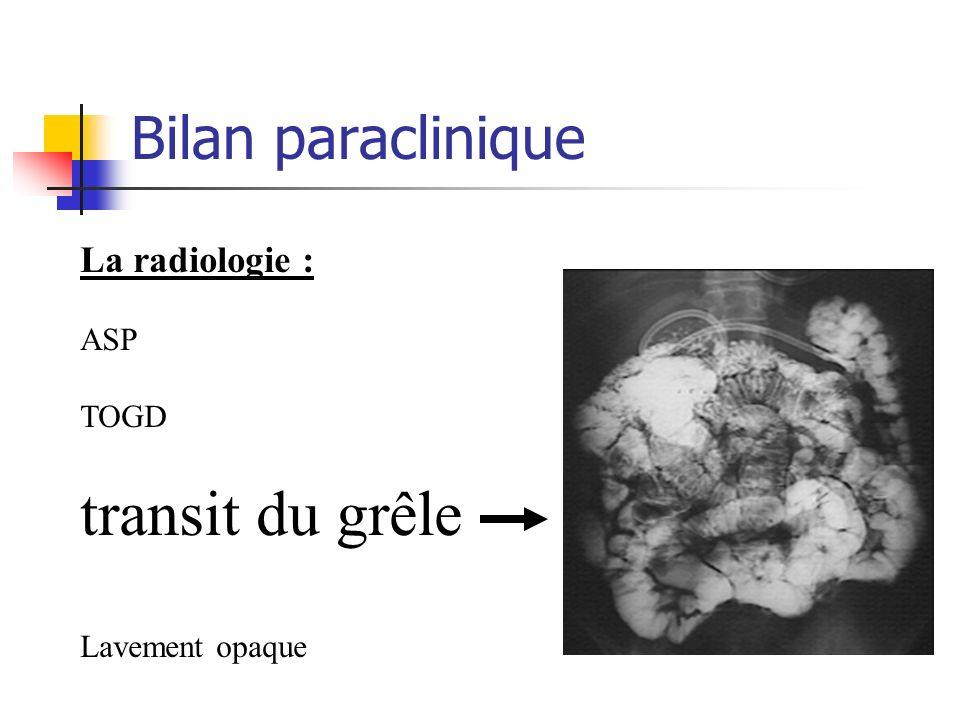 transit du grêle Bilan paraclinique La radiologie : ASP TOGD