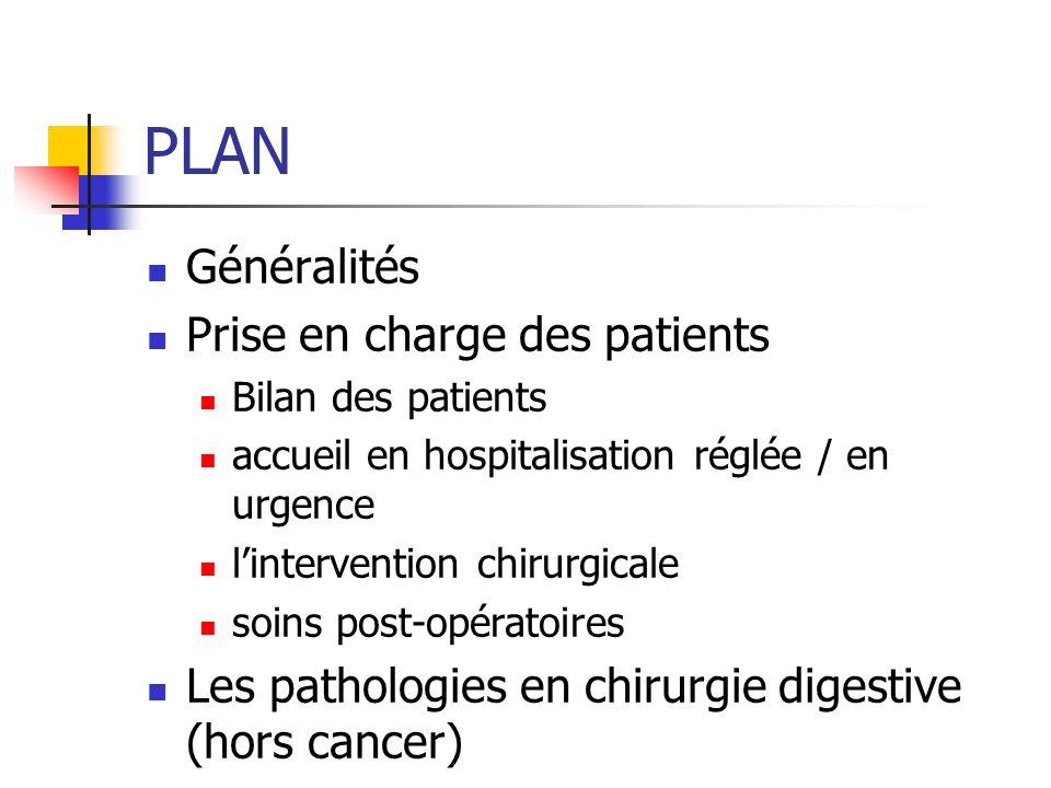 PLAN Généralités Prise en charge des patients