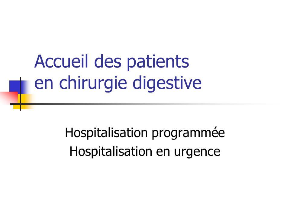 Accueil des patients en chirurgie digestive