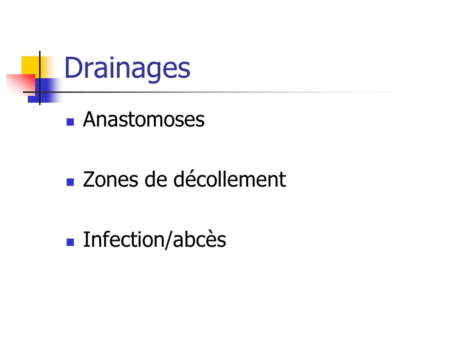Drainages Anastomoses Zones de décollement Infection/abcès