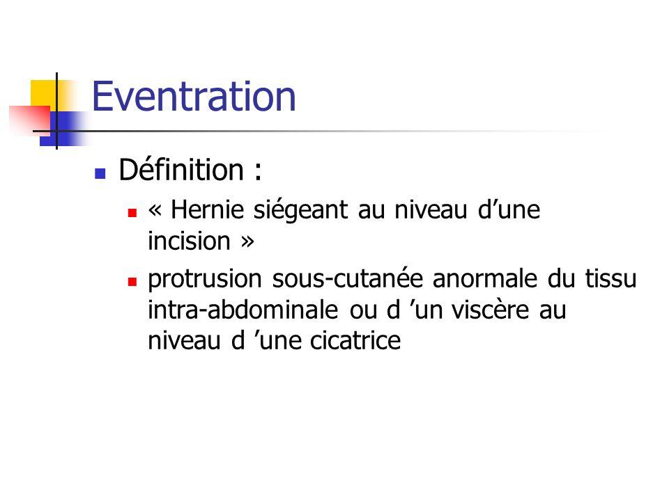 Eventration Définition : « Hernie siégeant au niveau d'une incision »