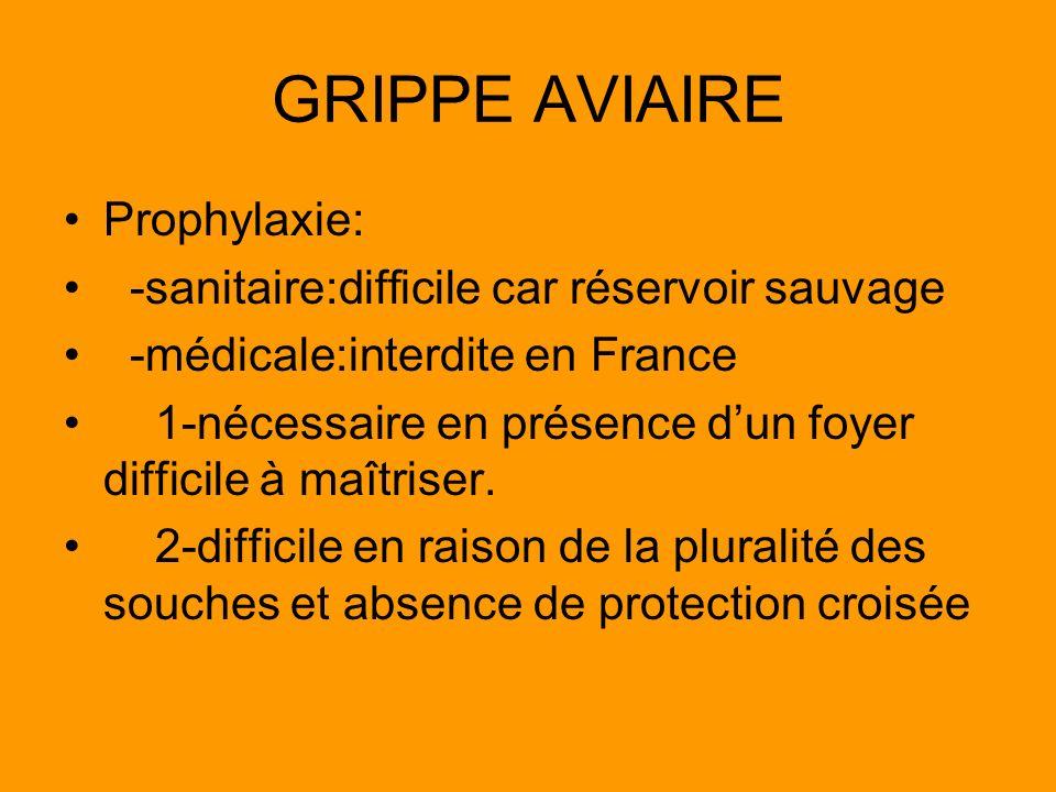 GRIPPE AVIAIRE Prophylaxie: -sanitaire:difficile car réservoir sauvage
