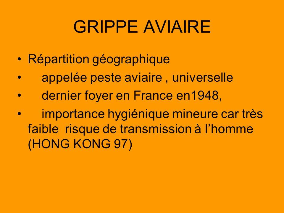 GRIPPE AVIAIRE Répartition géographique