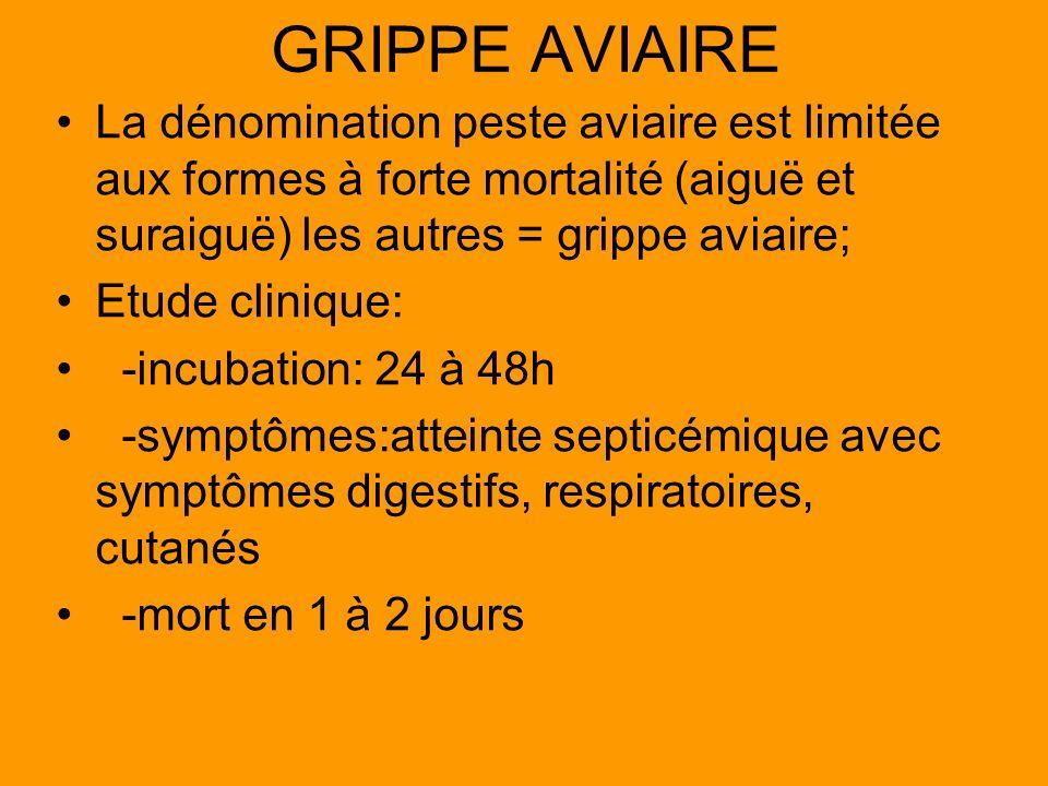 GRIPPE AVIAIRELa dénomination peste aviaire est limitée aux formes à forte mortalité (aiguë et suraiguë) les autres = grippe aviaire;