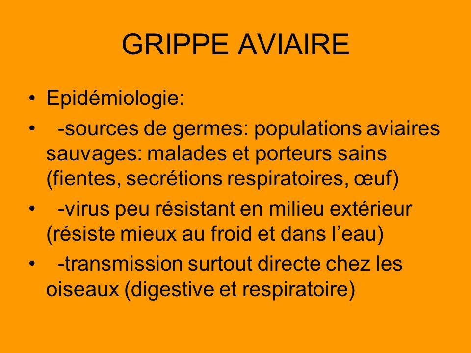 GRIPPE AVIAIRE Epidémiologie: