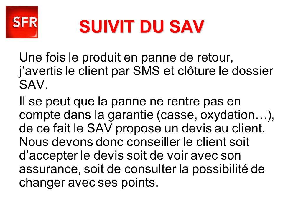SUIVIT DU SAV Une fois le produit en panne de retour, j'avertis le client par SMS et clôture le dossier SAV.