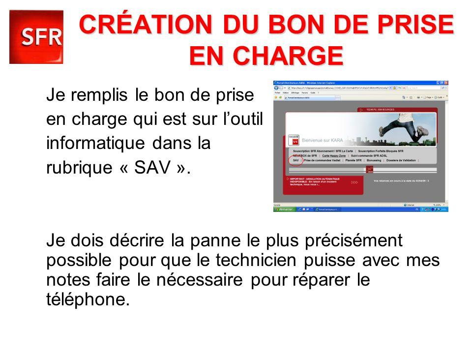 CRÉATION DU BON DE PRISE EN CHARGE