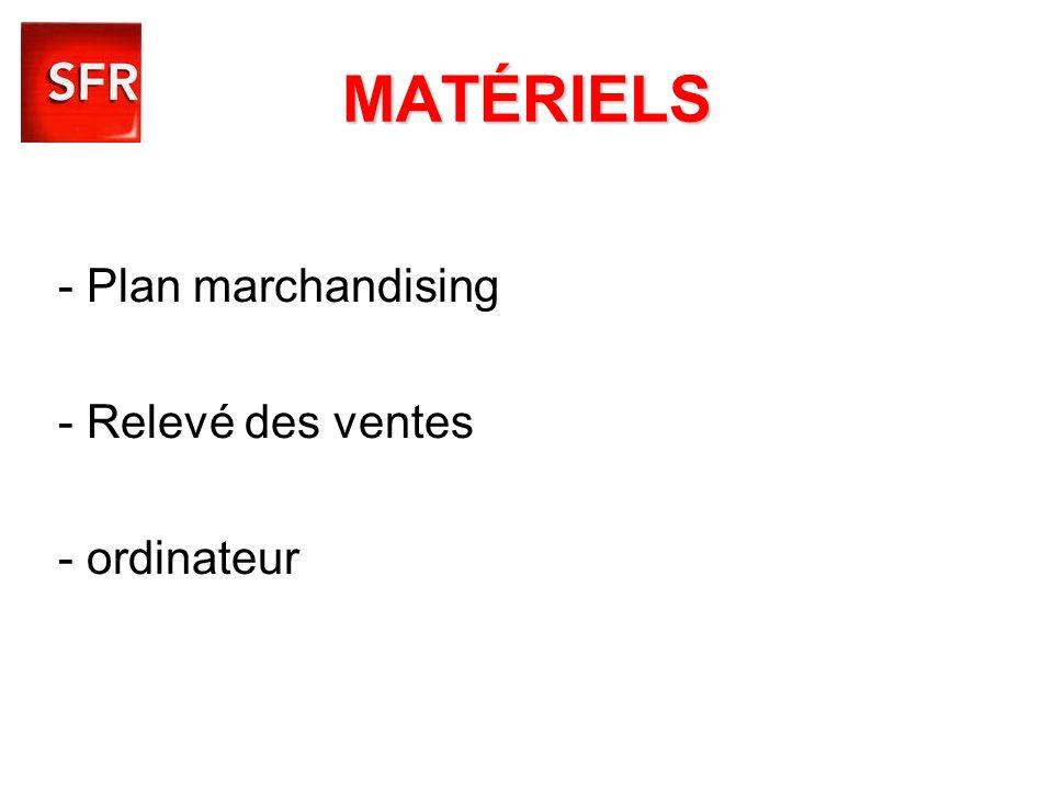 MATÉRIELS - Plan marchandising - Relevé des ventes - ordinateur