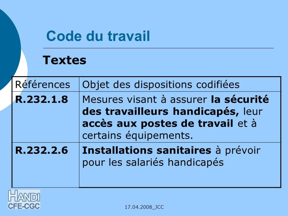 Code du travail Textes Références Objet des dispositions codifiées