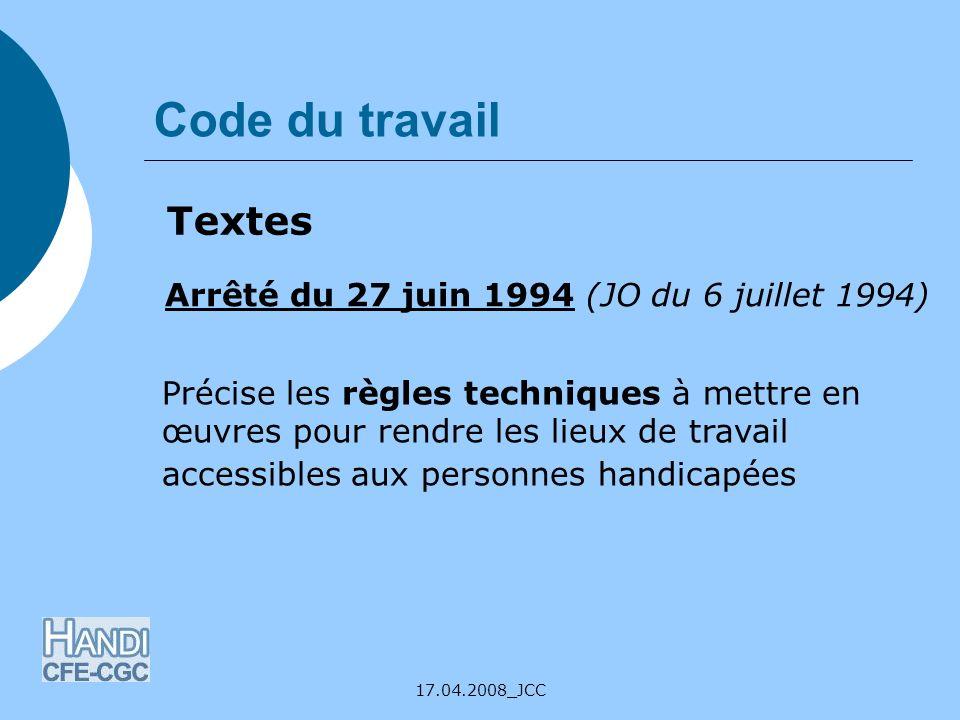 Code du travail Textes Arrêté du 27 juin 1994 (JO du 6 juillet 1994)
