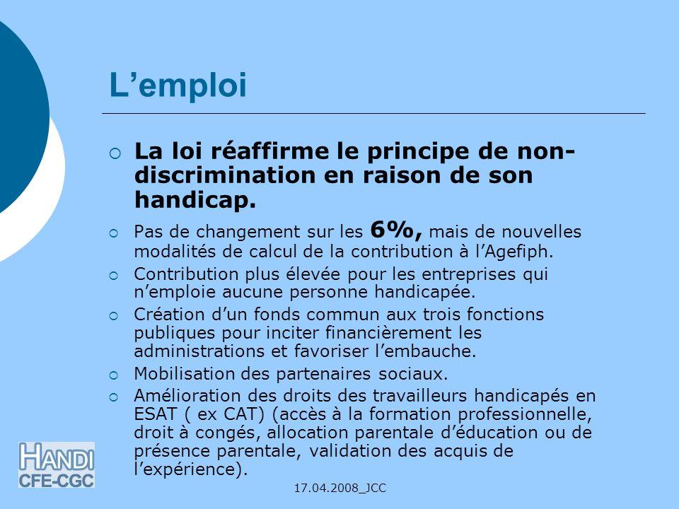 L'emploi La loi réaffirme le principe de non-discrimination en raison de son handicap.