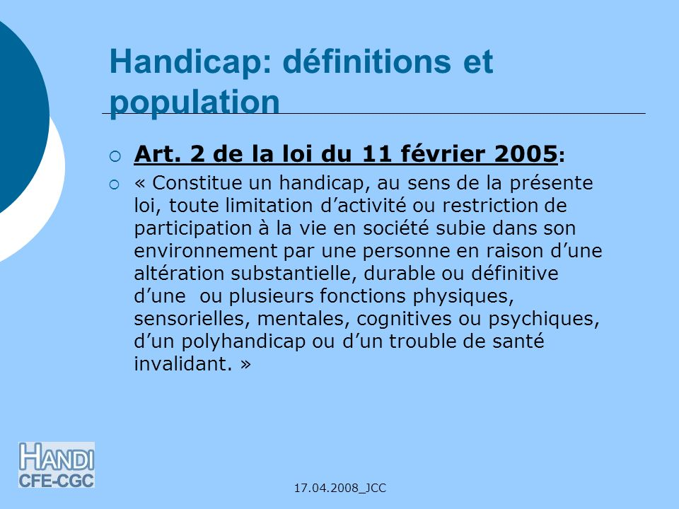 Handicap: définitions et population