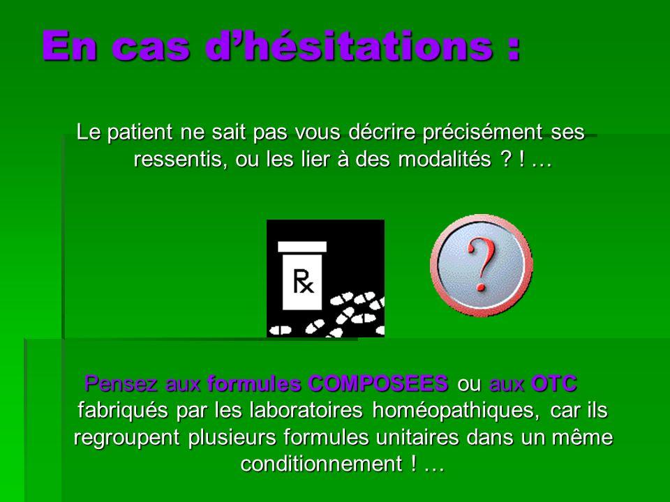 En cas d'hésitations : Le patient ne sait pas vous décrire précisément ses ressentis, ou les lier à des modalités ! …