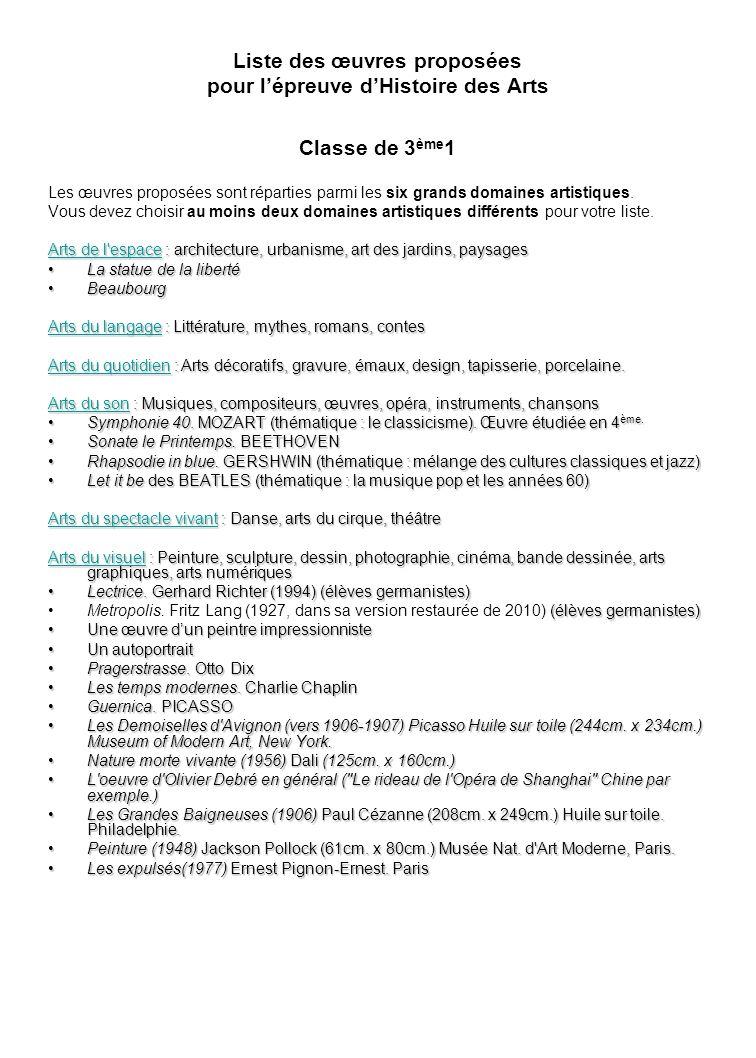 Liste des œuvres proposées pour l'épreuve d'Histoire des Arts Classe de 3ème1