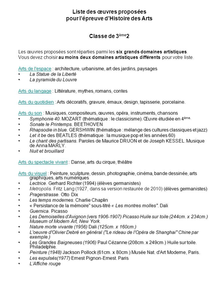 Liste des œuvres proposées pour l'épreuve d'Histoire des Arts Classe de 3ème2
