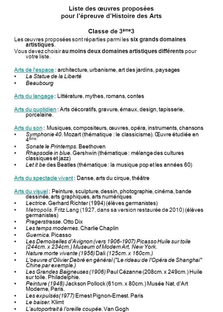 Liste des œuvres proposées pour l'épreuve d'Histoire des Arts Classe de 3ème3