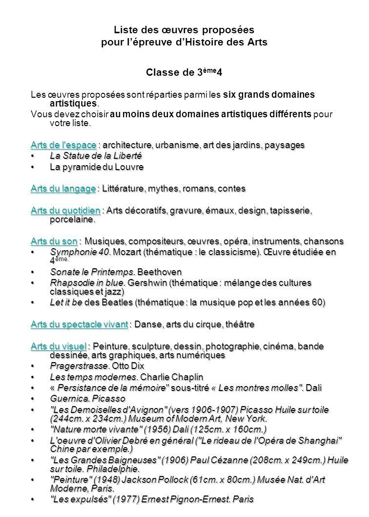 Liste des œuvres proposées pour l'épreuve d'Histoire des Arts Classe de 3ème4