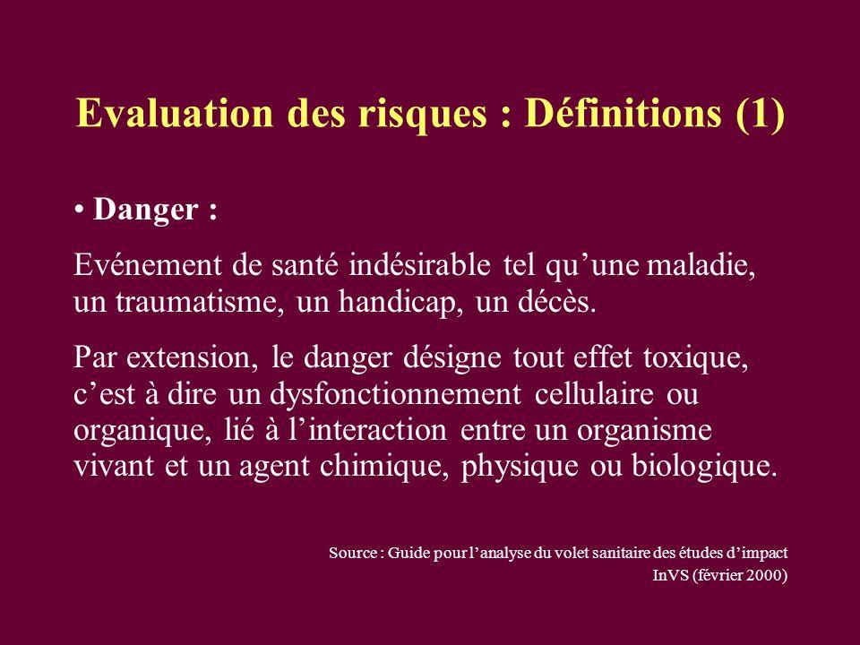 Evaluation des risques : Définitions (1)
