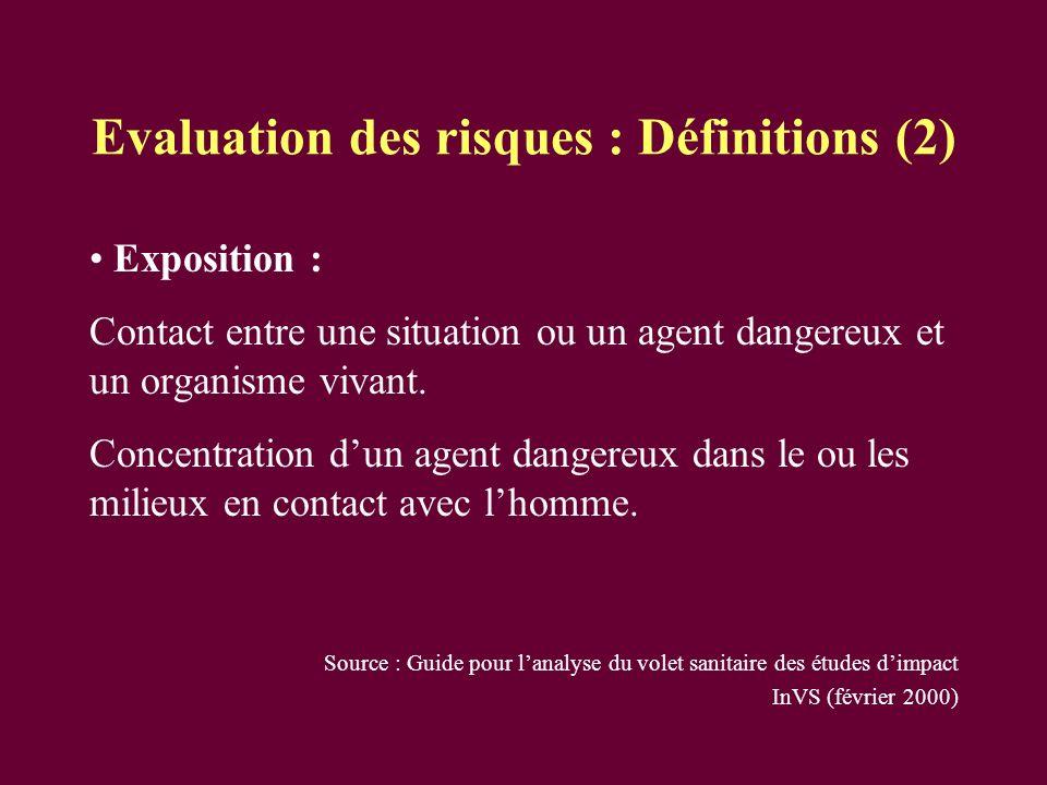 Evaluation des risques : Définitions (2)