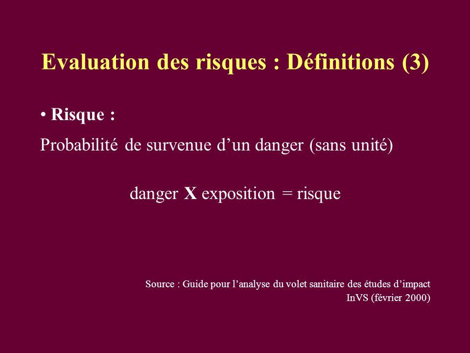 Evaluation des risques : Définitions (3)