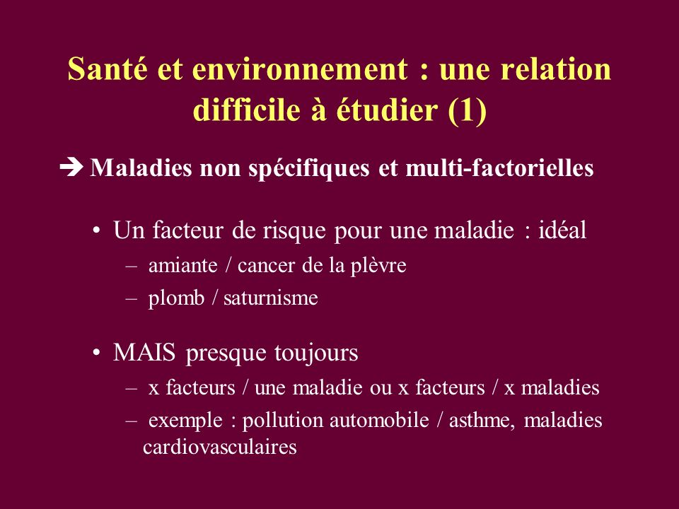 Santé et environnement : une relation difficile à étudier (1)
