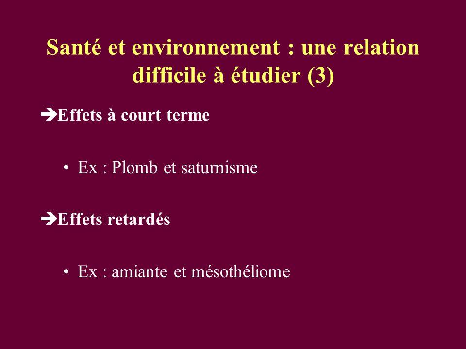 Santé et environnement : une relation difficile à étudier (3)