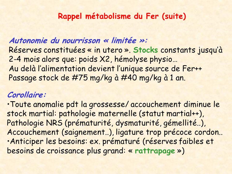 Rappel métabolisme du Fer (suite)
