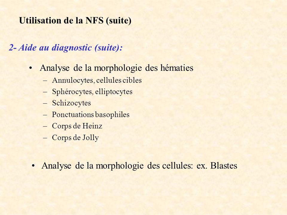 Utilisation de la NFS (suite) 2- Aide au diagnostic (suite):