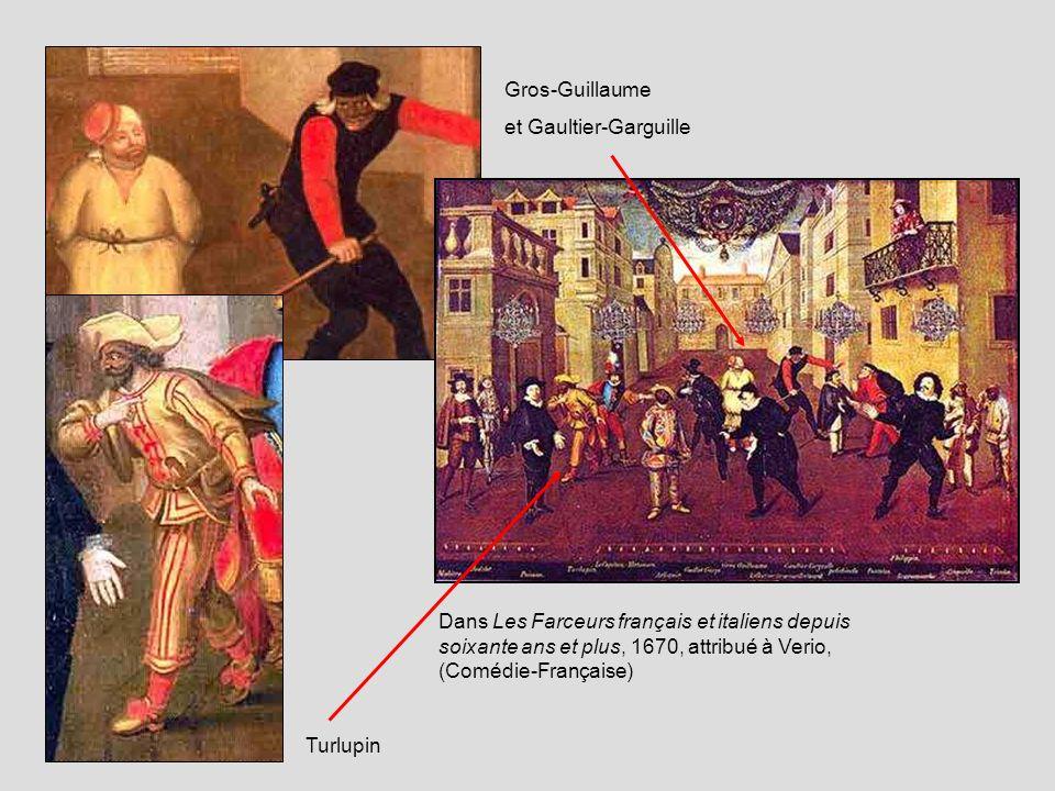 Gros-Guillaumeet Gaultier-Garguille. Dans Les Farceurs français et italiens depuis soixante ans et plus, 1670, attribué à Verio, (Comédie-Française)